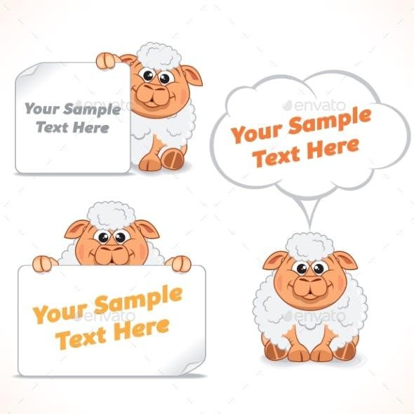 Cartoon Sheep with Banners