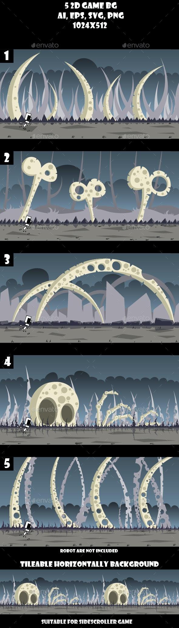 5 Bone Land Game Backgrounds - Backgrounds Game Assets