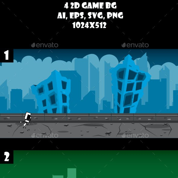 4 Ruined City Game Backgrounds
