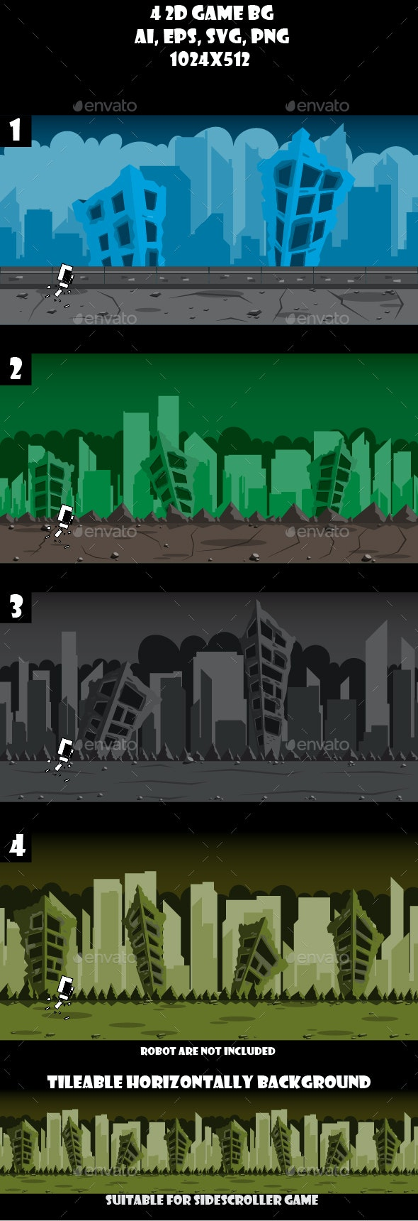 4 Ruined City Game Backgrounds - Backgrounds Game Assets