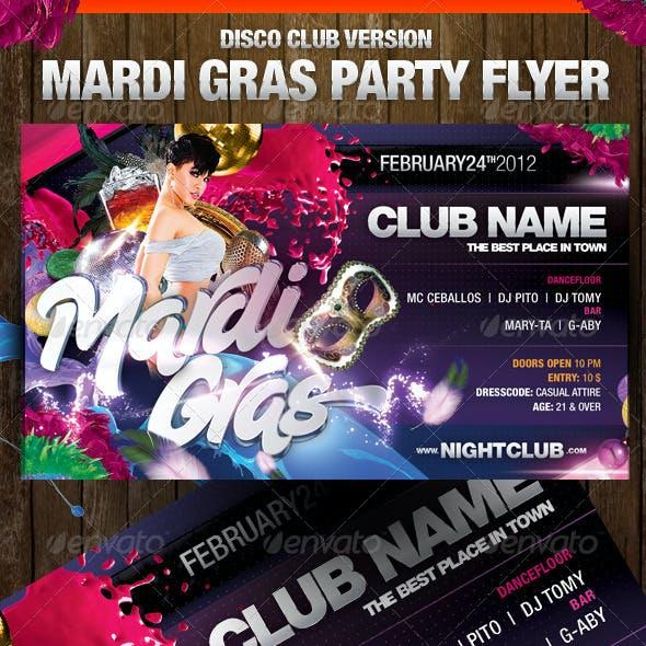 Mardi Gras Disco Club Version Flyer