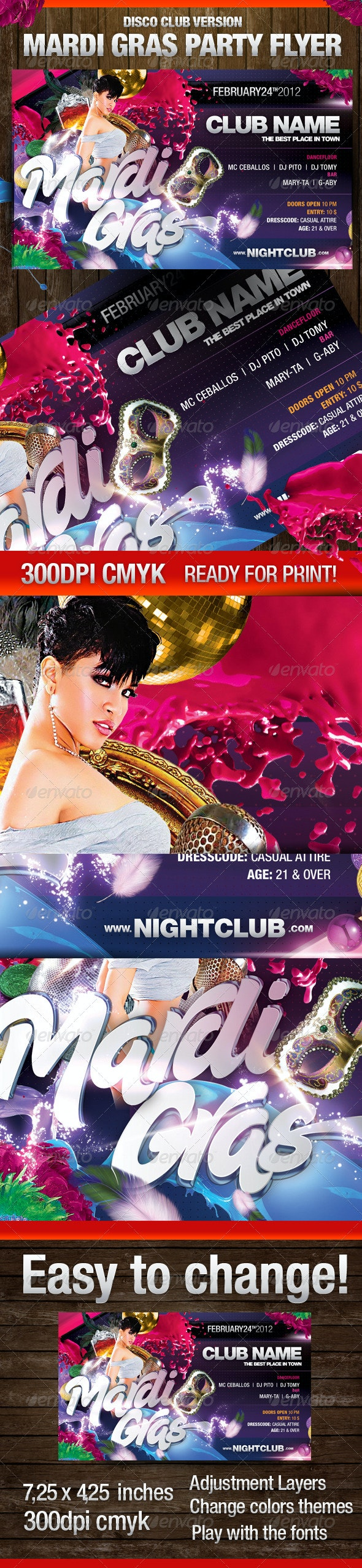 Mardi Gras Disco Club Version Flyer - Clubs & Parties Events