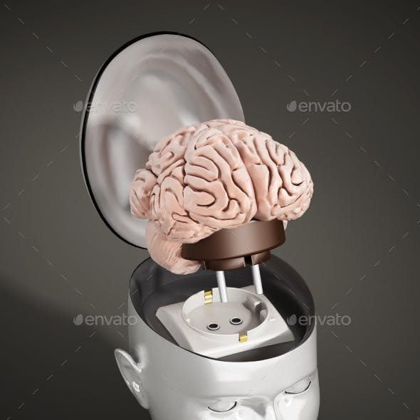 Brain With Electricity Plug