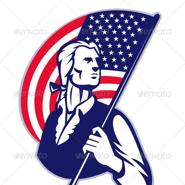 Patriot Minuteman With American Stars and Stripes