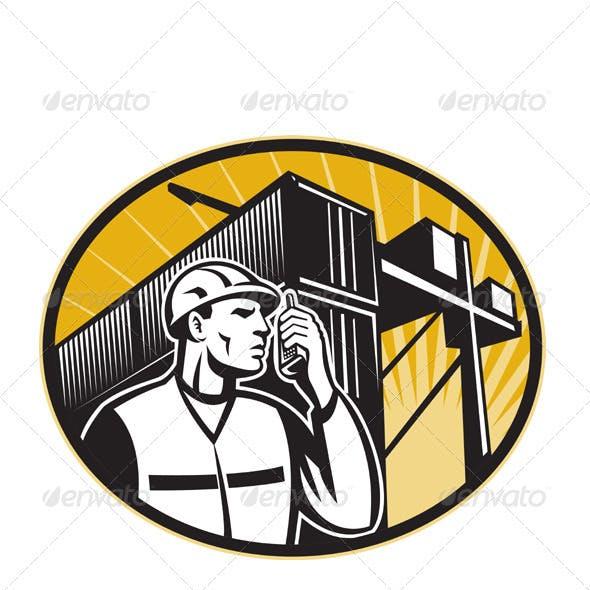 Dock Worker Talking Phone Container Crane