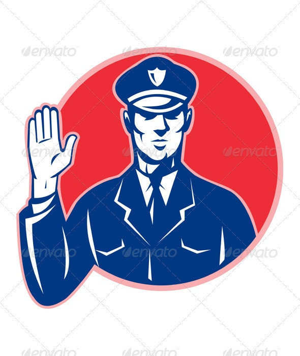 Police Officer Policeman Stop Hand - People Characters
