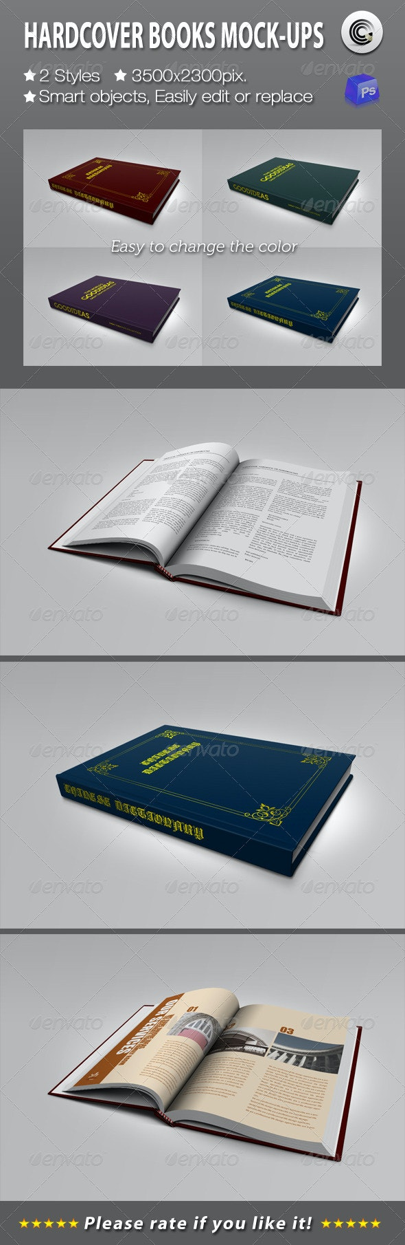Hardcover Books Mock-ups - Books Print