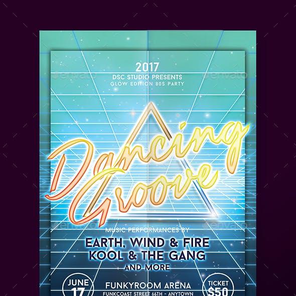 Disco Glow Party Flyer v 1