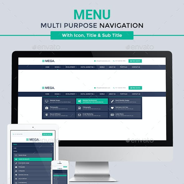 Multipurpose Navigation Menu Bar PSD