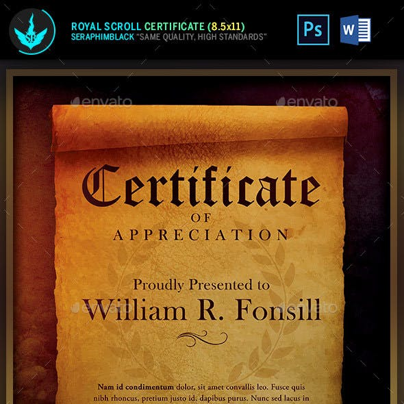 Royal Scroll Certificate Template: