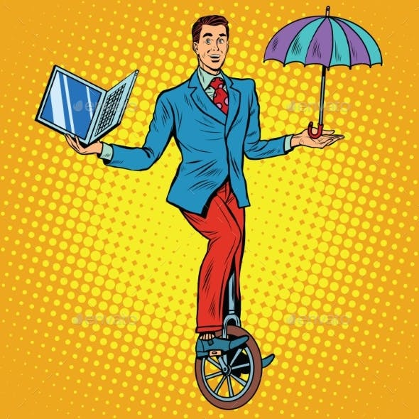Businessman on Unicycle Business Balance