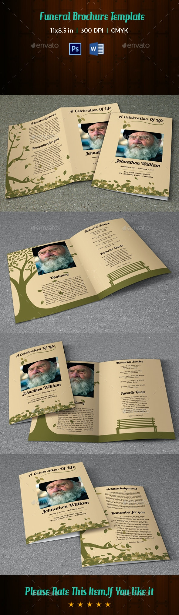 Memorial Funeral Program Template-V59 - Brochures Print Templates