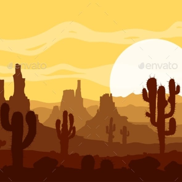 Sunset Desert with Cactus and Mountains