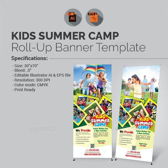 Kids Summer Camp Roll-up Banner Template