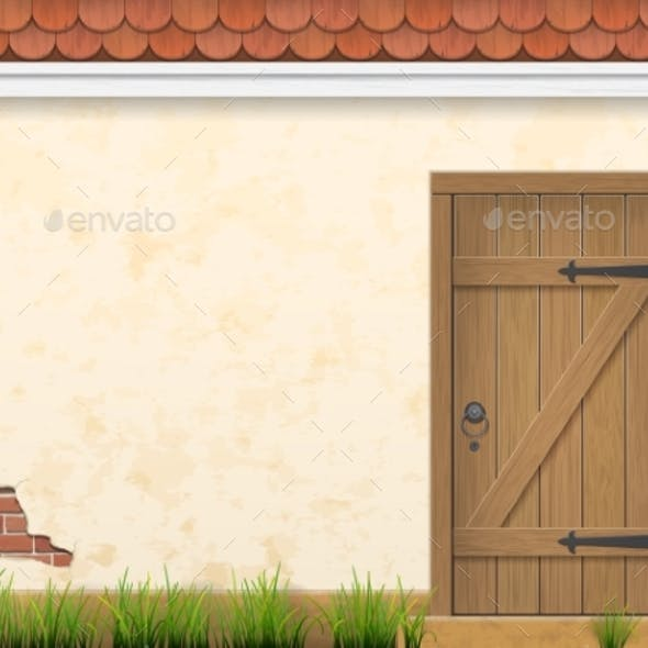 Old Wall Grass and Wooden Door