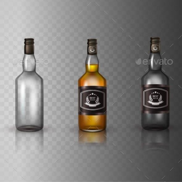 Glass Brandy  Bottle with Screw Cap
