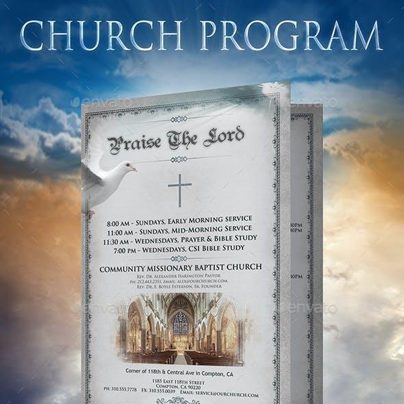 Church Program 2 page Brochure