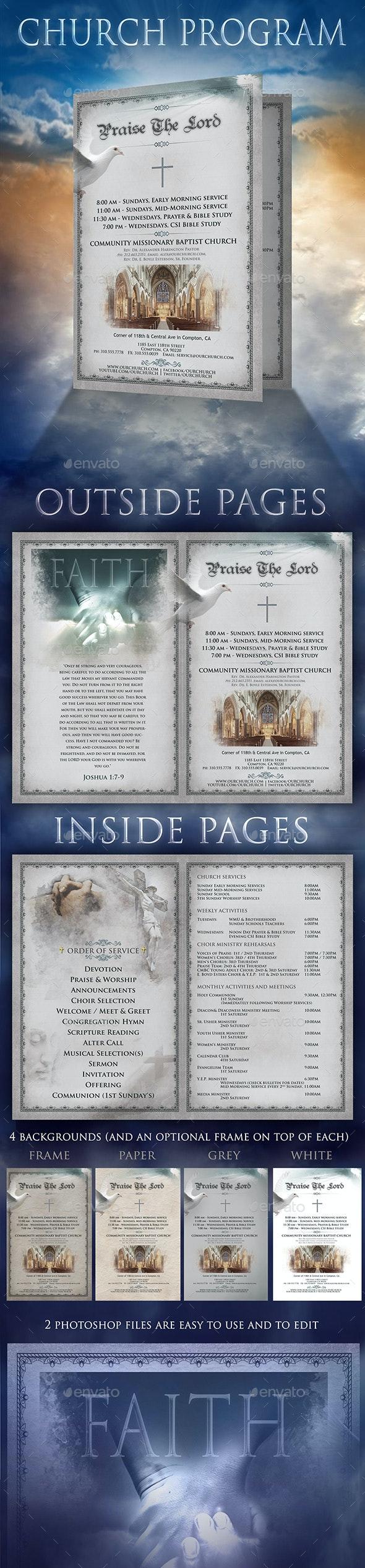 Church Program 2 page Brochure - Church Flyers