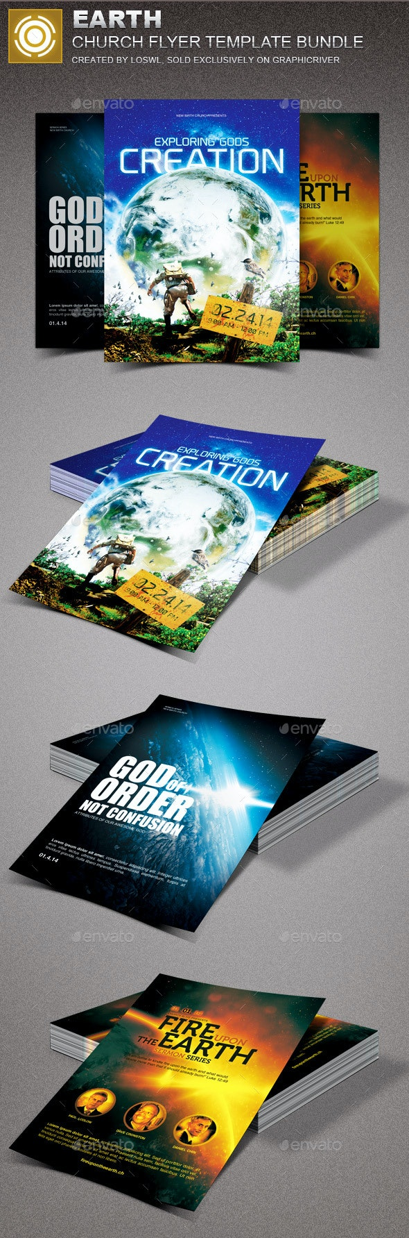 Earth Church Marketing Flyer Template Bundle - Church Flyers