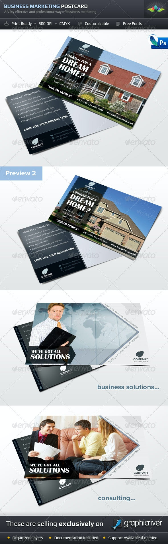 Business Marketing Postcard Template Set - Stationery Print Templates