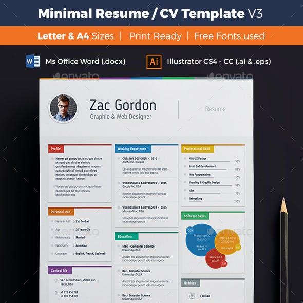 Minimal Resume / CV Template - V3