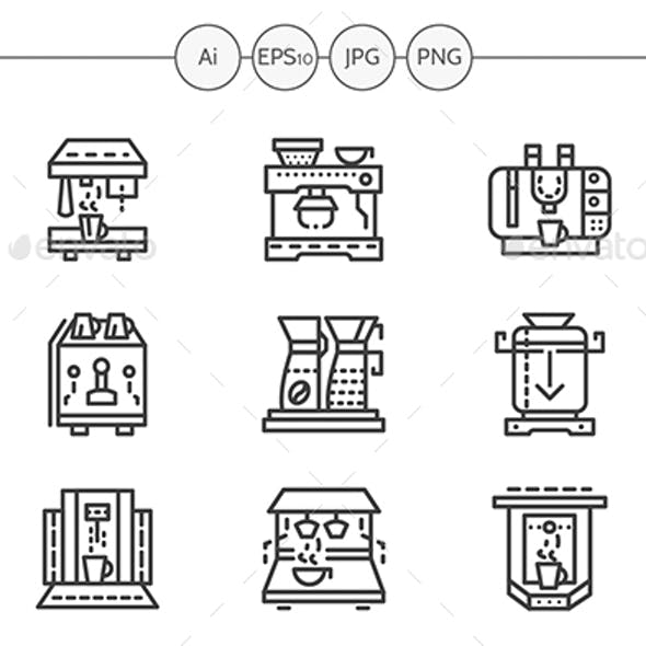 Professional Coffee Maker Machines Simple Line Vector Icons Set