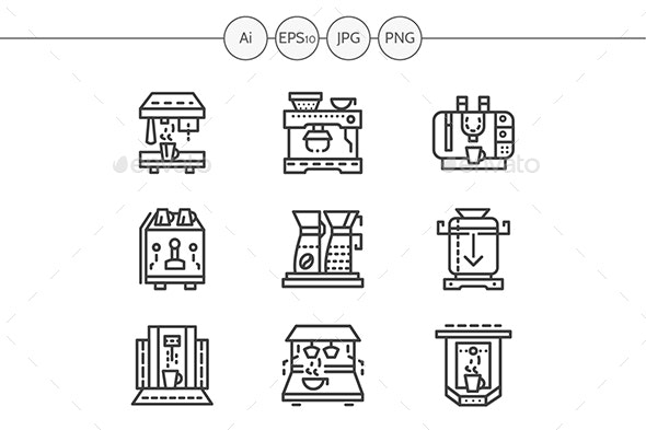 Professional Coffee Maker Machines Simple Line Vector Icons Set - Man-made objects Objects