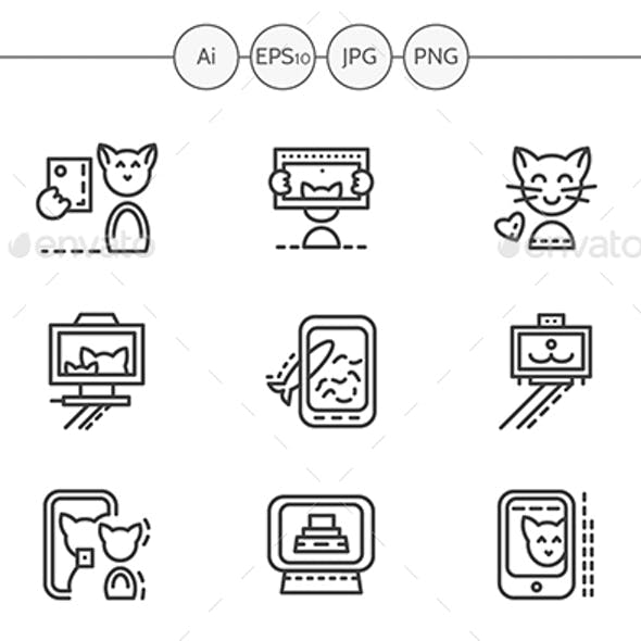 Set of Simple Line Vector Icons for Cat Selfie