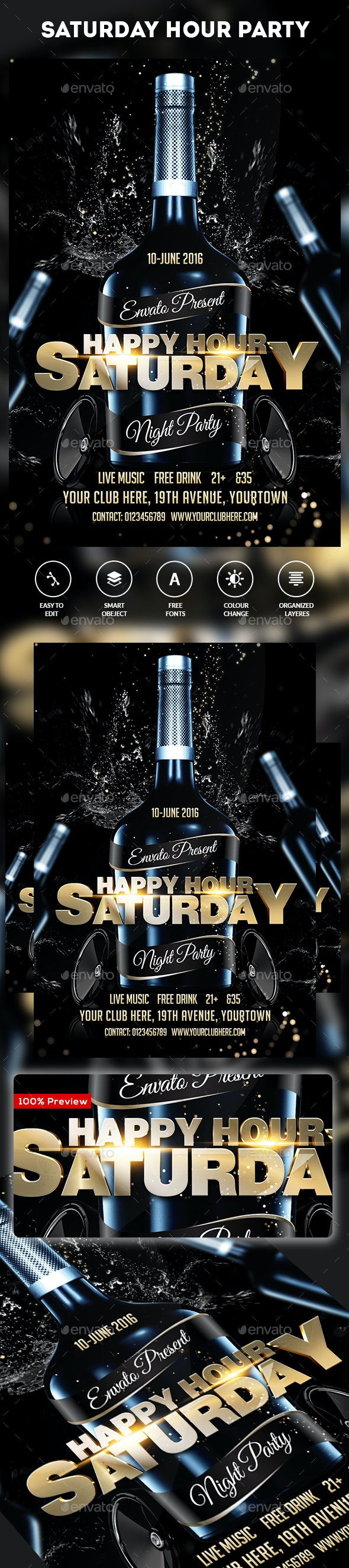 Saturday Weekend Party Flyer - Clubs & Parties Events