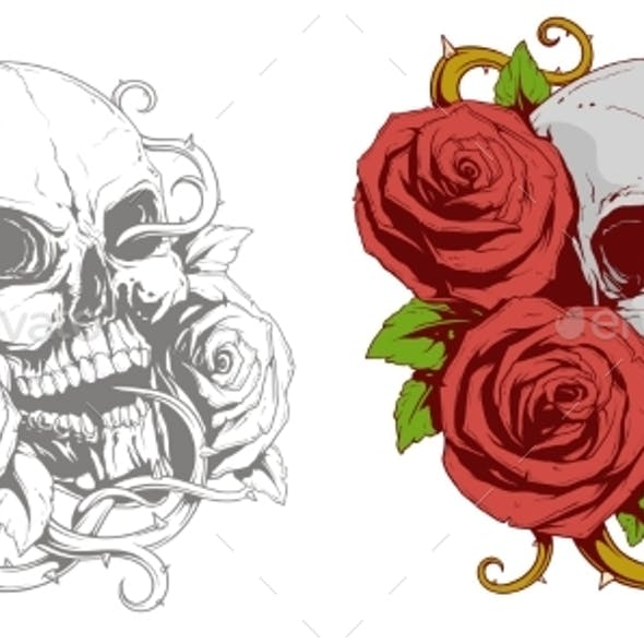 Grey Skull With Red Roses Tattoo