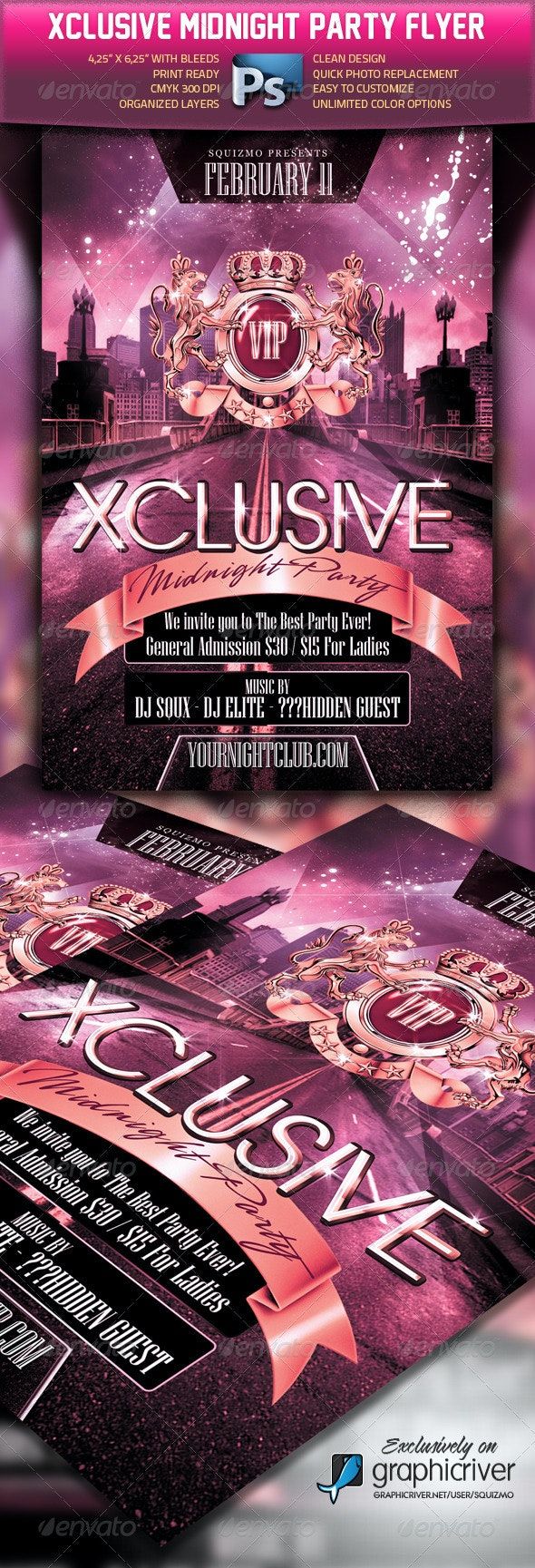 Xclusive Midnight Party Flyer - Clubs & Parties Events