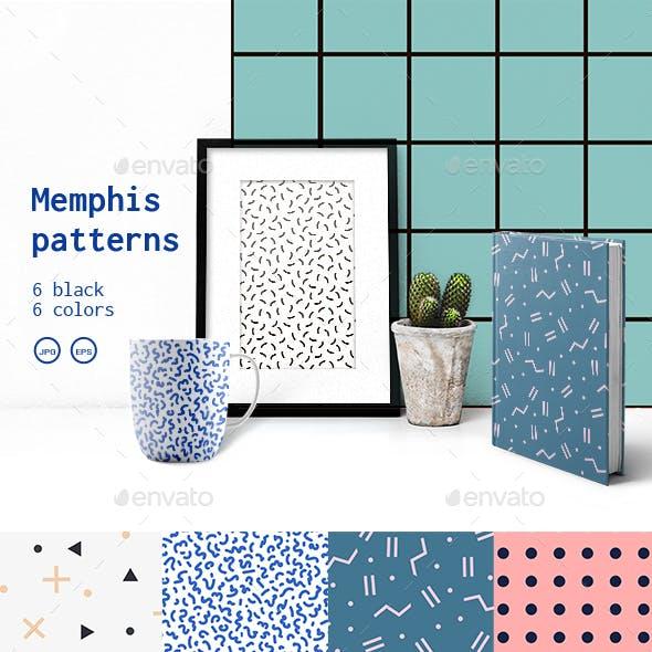 Black and White Set Memphis Patterns