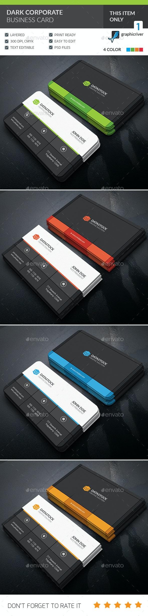 Dark Corporate Business Card - Corporate Business Cards