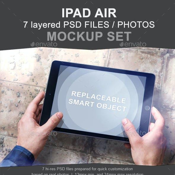 iPad Air Mockup Set - 7 Photo PSD
