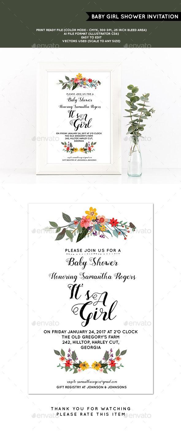 Baby Girl Shower Invitation - Cards & Invites Print Templates