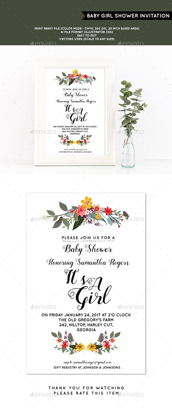 Baby Girl Shower Invitation - Cards & Invites Print Templates