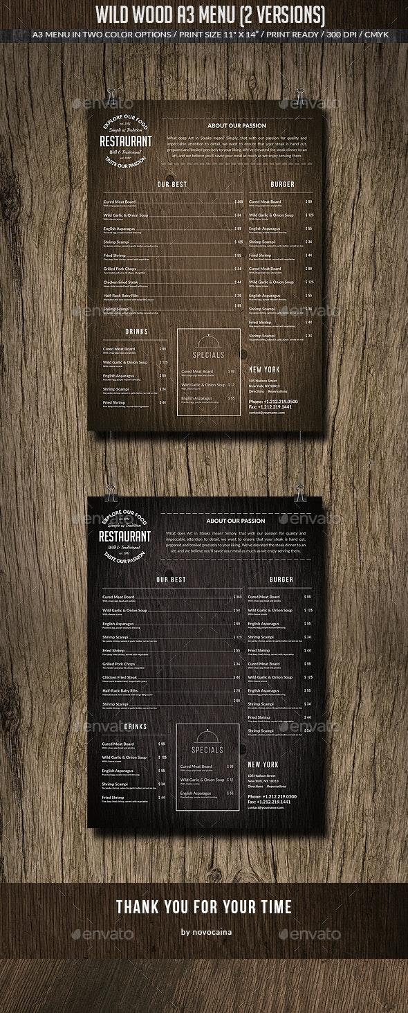 Wild Wood A3 Menu (2 Versions) - Food Menus Print Templates