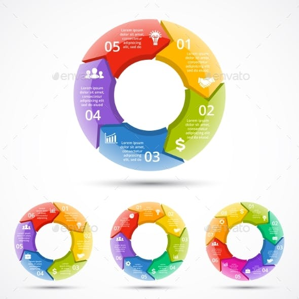 Circle Arrows Graph Infographic. Cycle 3D Diagram.