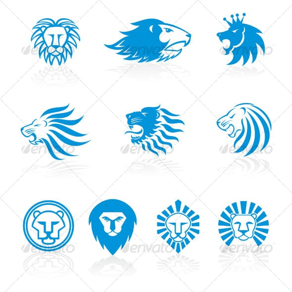 lion heads design - Animals Characters