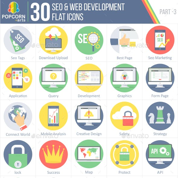 30 Seo & Web Development Flat Icons 3