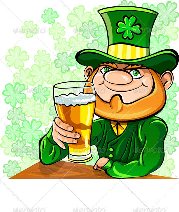 Vector St. Patrick's Day Leprechaun Drinks Beer - Seasons/Holidays Conceptual