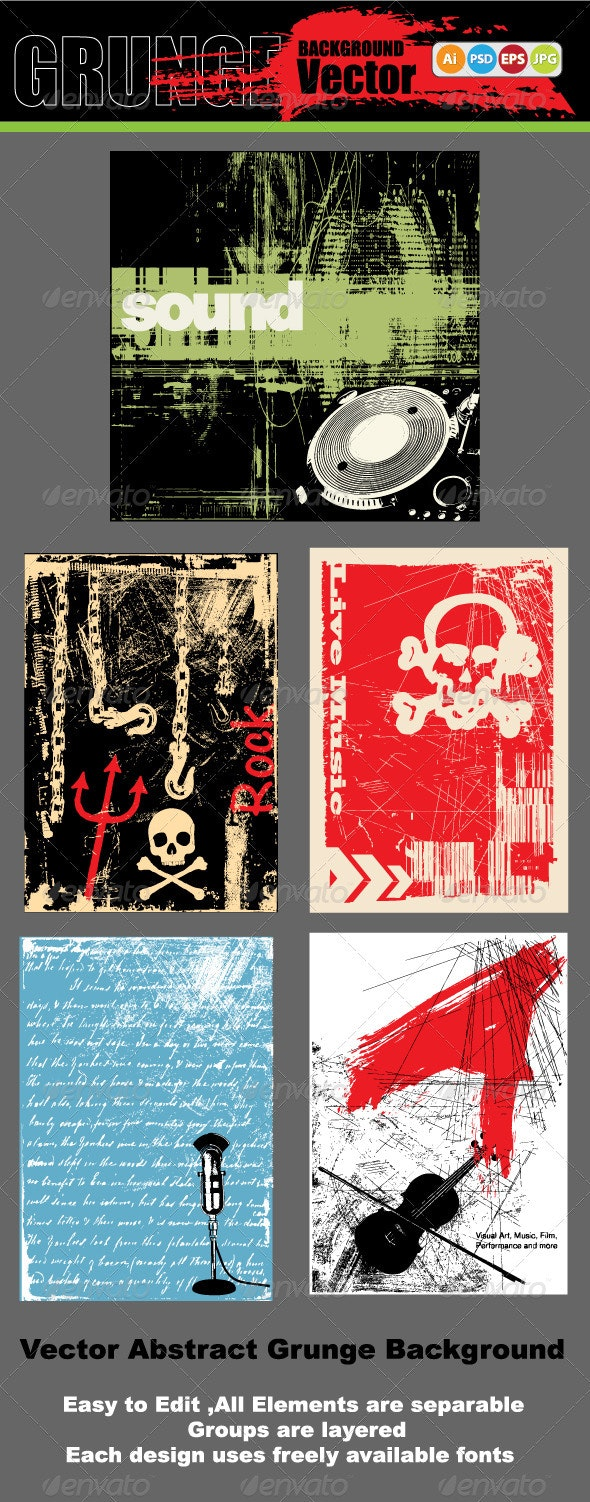 Vector Abstract Musical Grunge Backgrounds  - Backgrounds Decorative