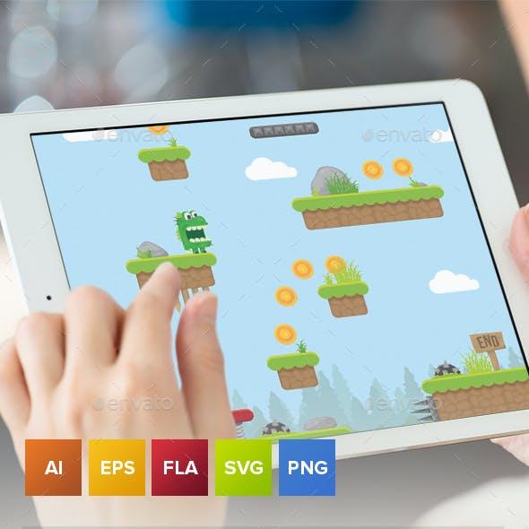 Green Dragon Platformer Game Tileset and Assets