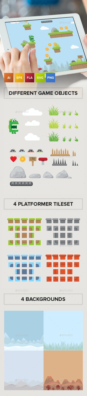 Green Dragon Platformer Game Tileset and Assets - Game Kits Game Assets
