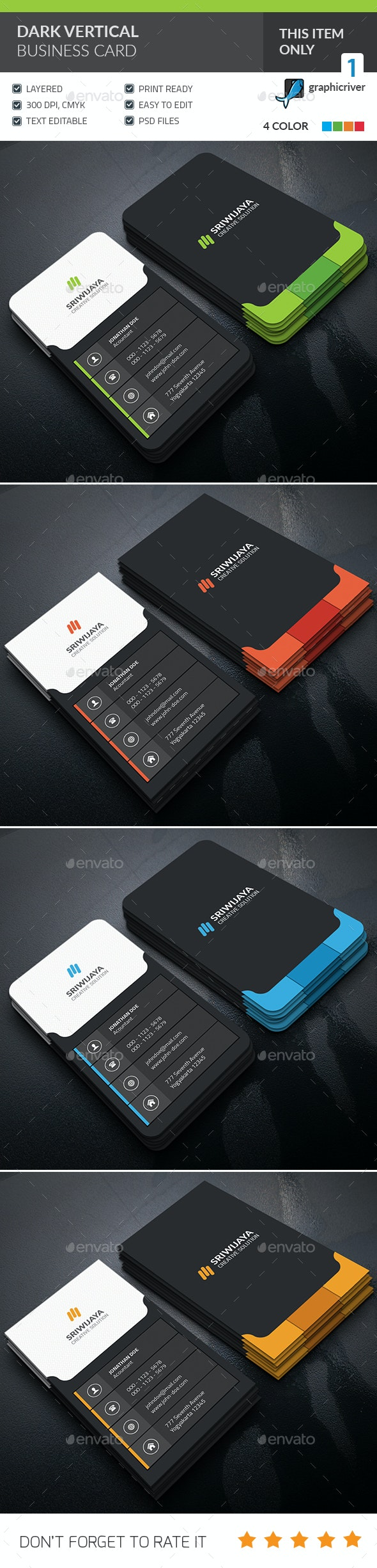 Dark Vertical Business Card  - Corporate Business Cards