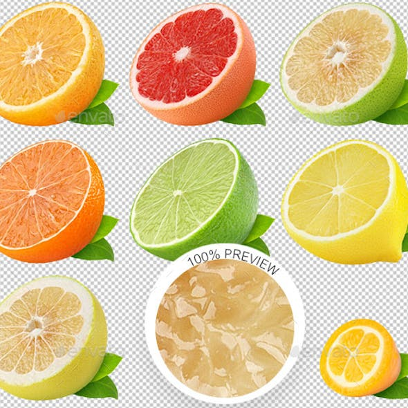 Isolated Citrus Fruits Collection