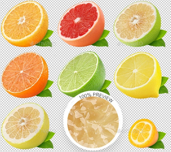 Isolated Citrus Fruits Collection - Food & Drink Isolated Objects