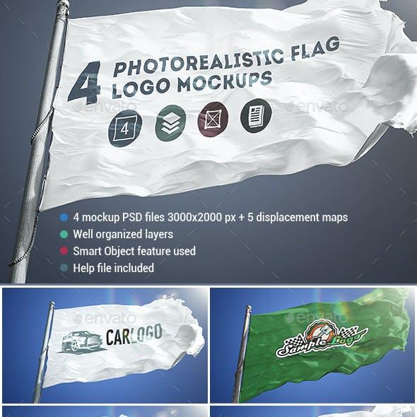 4 Photorealistic Flag Logo Mockups