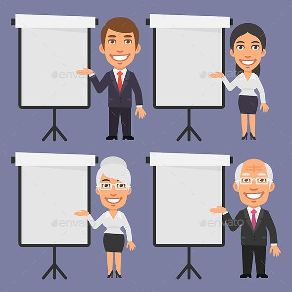 Businessman and Businesswoman Points to Blank Flip Chart
