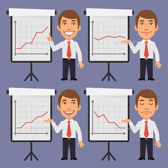 Businessman Points on Flip Chart with Graphs